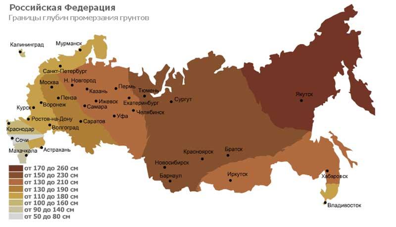 Границы глубин промерзания грунтов РФ