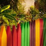 забор из штакетника цветной деревянный